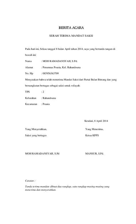 Contoh Surat Mandat Saksi Pilkada