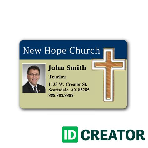 church membership id card template customizable church employee badge from idcreator