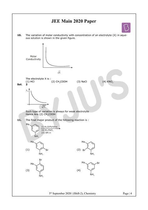 Solved Paper of JEE Main 2020 Chemistry (Shift 2-5th Sept