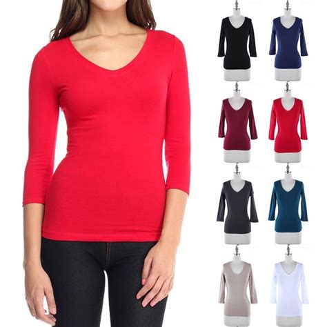 Plain V Neck Sleeve Top s basic solid plain 3 4 sleeve v neck t shirt top