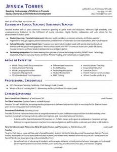 Education Resume Templates by Substitute Resume Exle Exles Teaching And Elementary