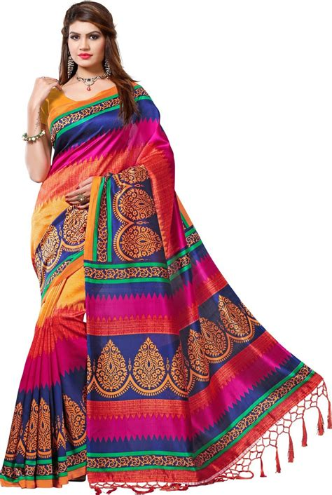 New Sari Sari Original Az buy vastrakala printed printed silk multicolor sarees best price in india