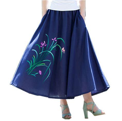 Big Skirt 2017 new fashion printed midi skirt big swing skirt ethnic folk custom linen skirts