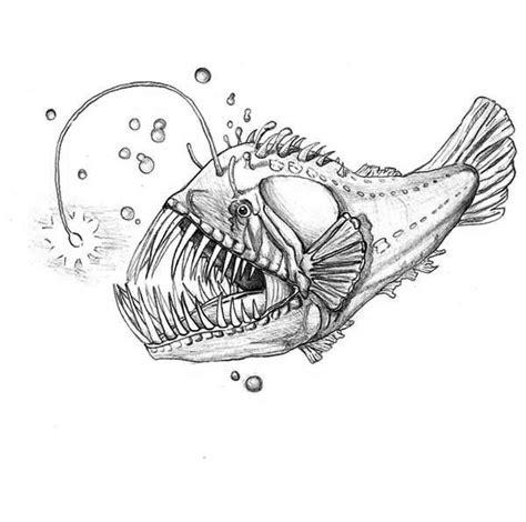 lantern fish coloring pages angler fish vector art illustration lantern fish