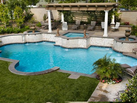 Backyard Pool Patio Mediterranean Inspired Swimming Pools Outdoor Spaces