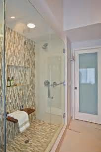 shower with built in bench bathroom bling
