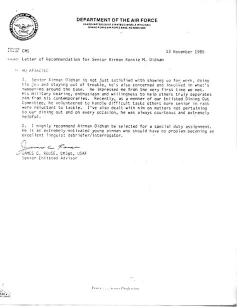 air letter format army letter of recommendation exle best template