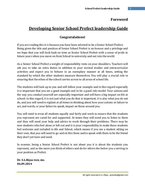application letter for prefect in a school school prefect leadership guide