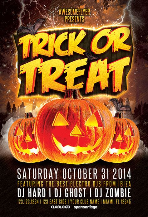 ffflyer trick or treat halloween party flyer template