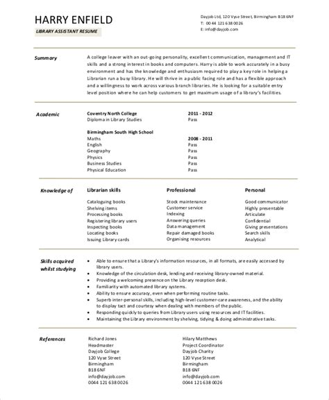 School Library Assistant Sle Resume by Librarian Resume Template 6 Free Word Pdf Documents Free Premium Templates