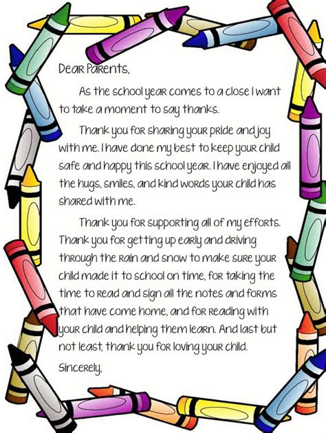 Thank You Letter For Kindergarten Best 25 Letter To Parents Ideas On