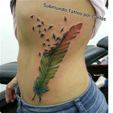 Tattoo 3d Escrita   tatuagem passarinhos com pena costela tattoo le 227 o de