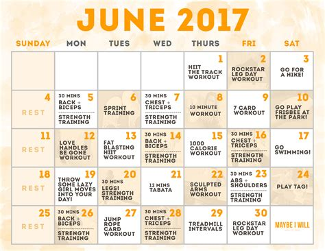 june workout schedule maybe i will