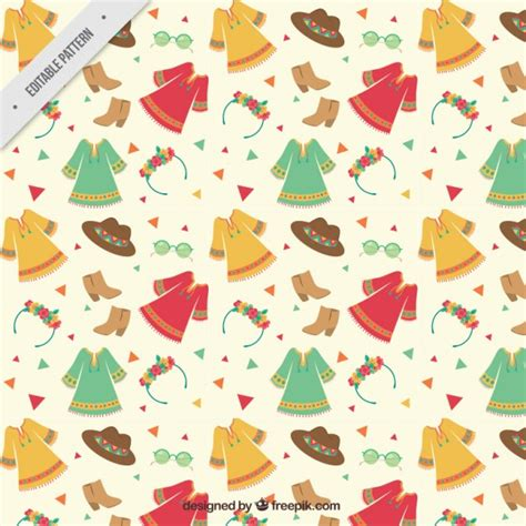 vector pattern free commercial use hand drawn boho style clothes pattern vector free download