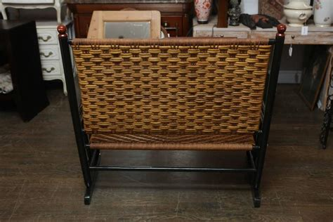 black rattan bench black lacquer bench with rattan seat at 1stdibs