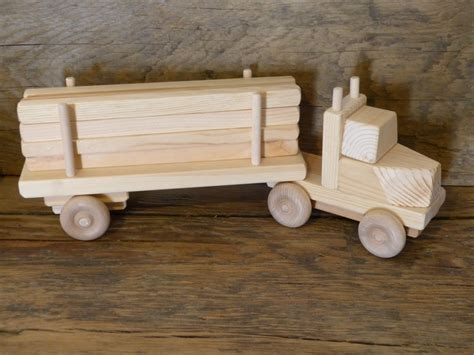 Handmade Wooden Trucks - handmade wooden lumber truck wood toys boys childs