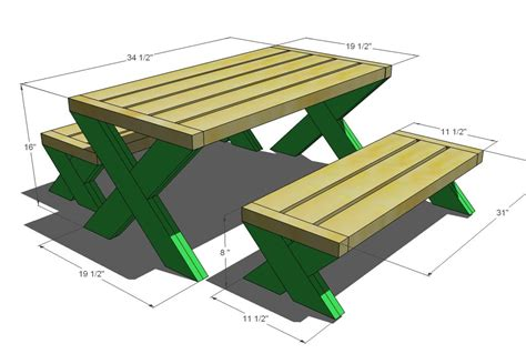 build  modern kids picnic table   benches kids