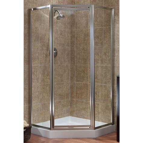 Angled Shower Doors Foremost Tides 18 1 2 In X 24 In X 18 1 2 In X 70 In Framed Neo Angle Shower Door In Brushed