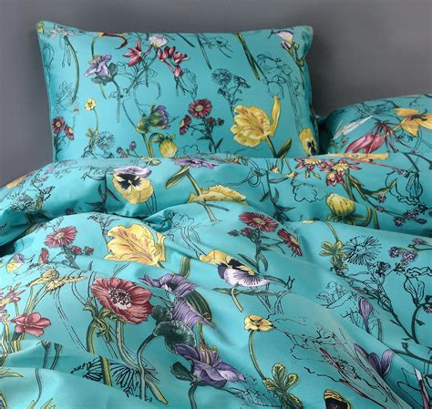 Romantic Floral Scarf Duvet Cover Vintage Botanical Flower Print Bedding 400tc Cotton Sateen