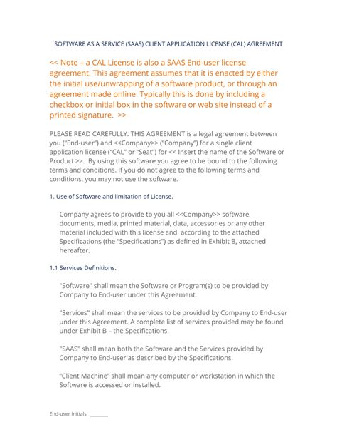 saas license agreement template saas software as a service client license
