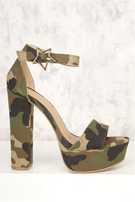 camo high heels camouflage canvas open toe platform chunky high