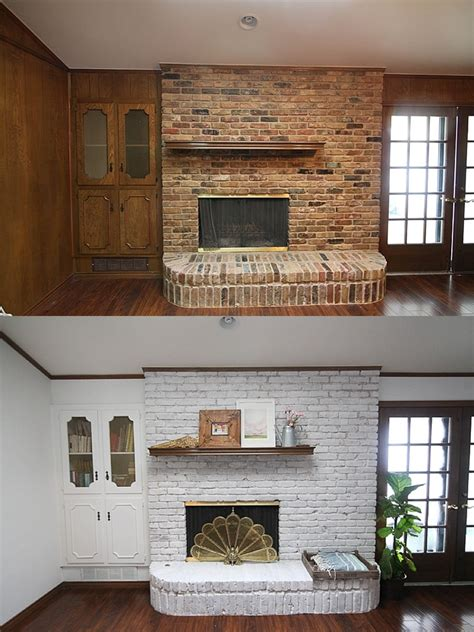 whitewashed brick fireplace update a brick fireplace how to whitewash brick the easy way