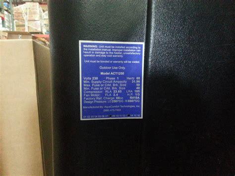 AQUA COMFORT AQUACOMFORT ACT1250 SWIMMING POOL HEAT PUMP   eBay