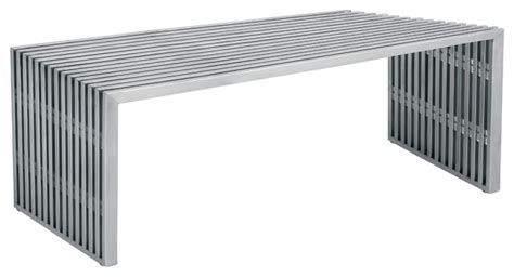 modern stainless steel furniture amici bench brushed stainless steel by nuevo hgdj122 modern outdoor benches by ebpeters