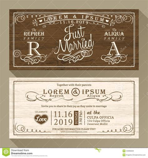 classic wedding card template vintage wedding invitation border and frame template stock