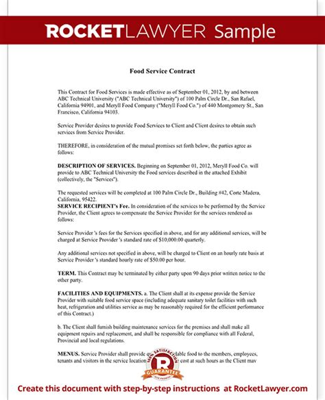 service contract template food service contract template with sle