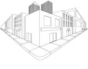 Two Point Perspective City Drawing Sketch Coloring Page sketch template