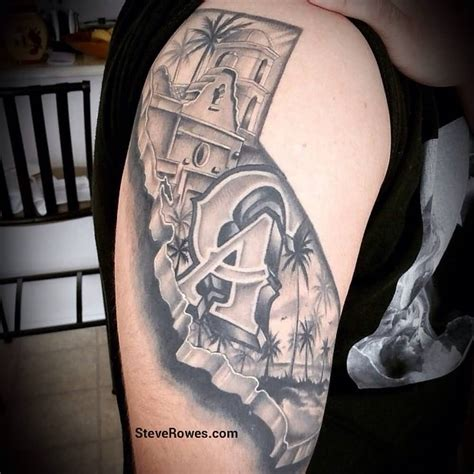 ca tattoos designs grey california on right half sleeve