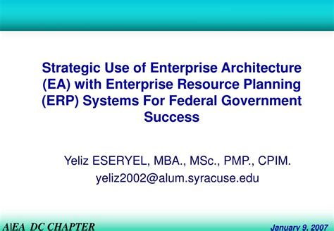 Mba In Enterprise Resource Planning by Ppt Strategic Use Of Enterprise Architecture Ea With
