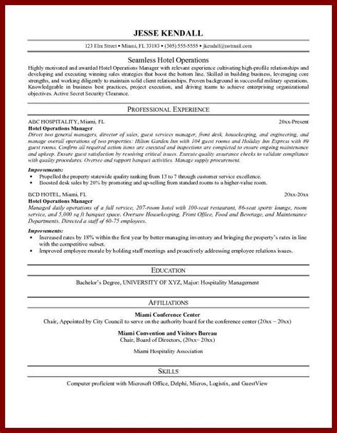 career objective for hotel management resume objective exle for hospitality frizzigame