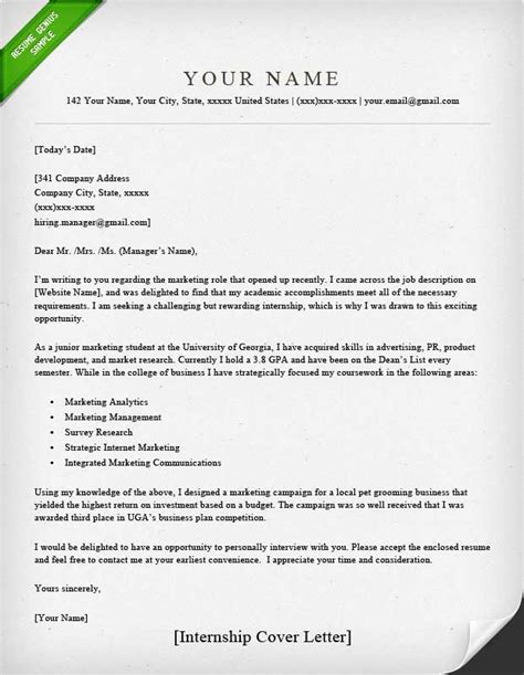 Cover Letter For Resume Internship Position by Internship Cover Letter Sle Resume Genius