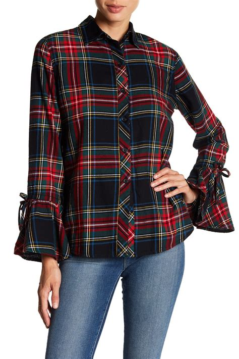 Beachlunchlounge Plaid by Beachlunchlounge Bell Tie Sleeve Plaid Print Flannel Shirt Nordstrom Rack