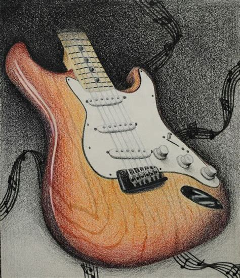electric guitar drawing colored pencil electric guitars