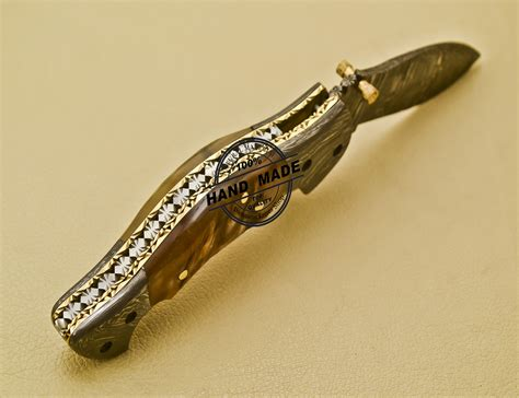 new damascus pocket knife custom handmade damascus steel