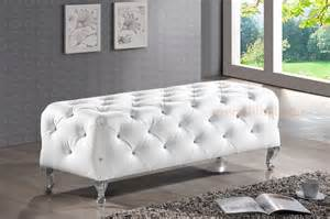 Contemporary Benches For Bedroom Modern Black White Faux Leather Tufted Bedroom Bench Ottoman Entry Way Ebay