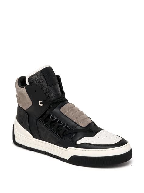 high top shoes for lyst fendi zucca paneled high top sneakers in black for