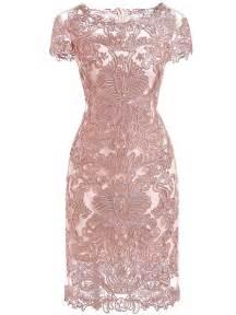 lace dress pink neck sleeve bodycon lace dress shein sheinside
