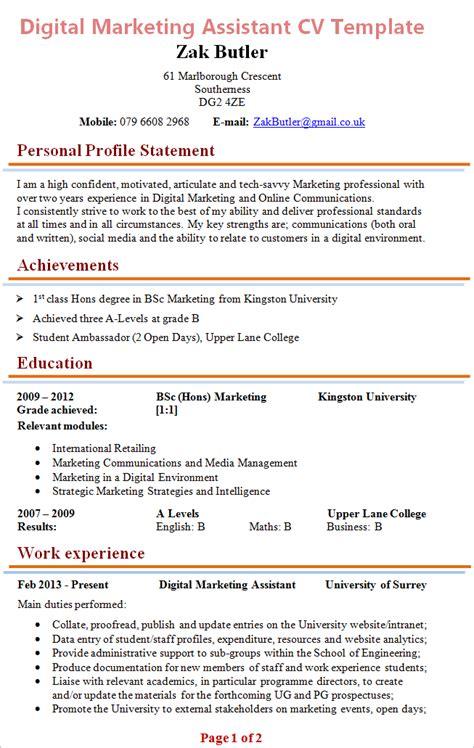 cv template for marketing digital marketing assistant cv exle