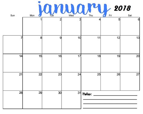 printable monthly planner january 2018 free printable blank monthly calendar 2018 calendar 2018