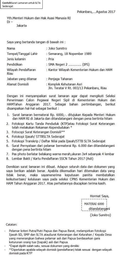 Format Surat Lamaran Kejaksaan Agung 2017 by Format Terbaru Contoh Surat Lamaran Cpns Kementerian Hukum