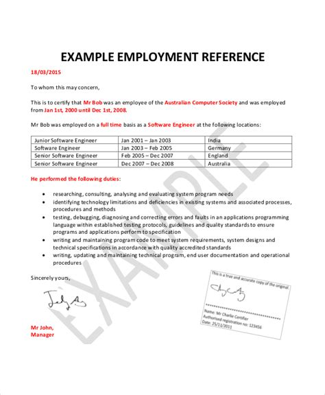 employment letter template australia employment reference letter 8 free word excel pdf