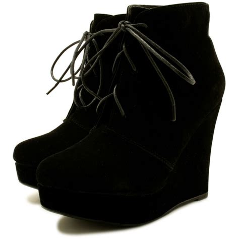 wedge heel lace up platform ankle boots black