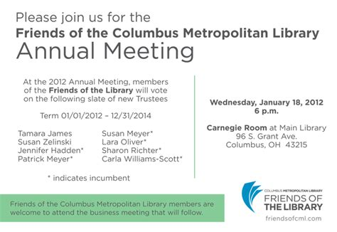 Sle Invitation Letter For Annual Conference Friends Of The Library Annual Meeting You Re Invited Friends Of The Columbus Metropolitan Library