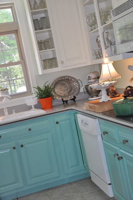 Turquoise Painted Kitchen Cabinets 5 Ways To Get This Look Turquoise Laundry Room