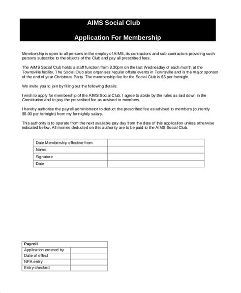 12 Sle Membership Application Forms Sle Forms Membership Application Template