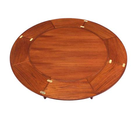 expandable round dining table rare danish modern teak round expandable top dining table